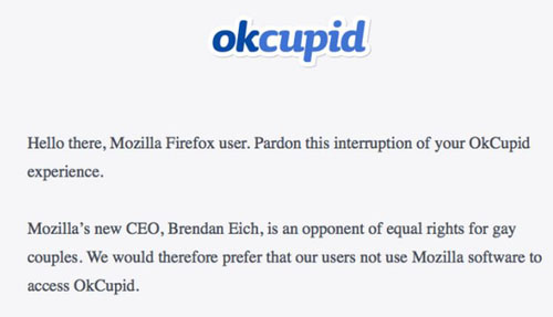 OkCupid Firefox splash screen