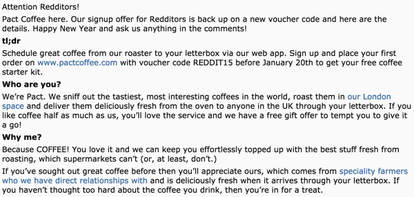 Pact Coffee reddit advert